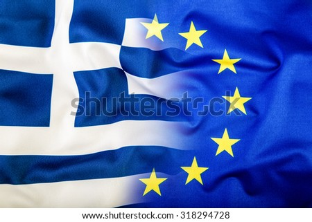 European Union and Greece. The concept of relationship between EU and Greece. Waving flag of EU and Greece. - stock photo