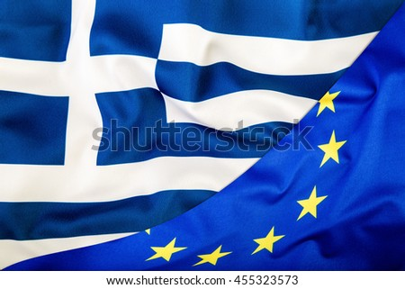 European Union and Greece. The concept of relationship between EU and Greece. Waving flag of EU and Greece.