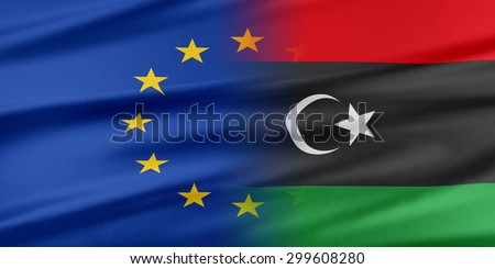 European Union and Libya. The concept of relationship between EU and Libya. - stock photo