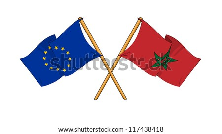 European Union and Morocco alliance and friendship - stock photo