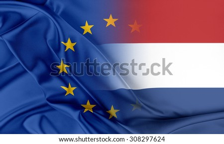 European Union and Netherlands. The concept of relationship between EU and Netherlands. - stock photo