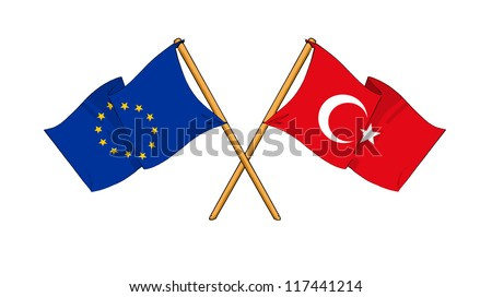 European Union and Turkey alliance and friendship - stock photo