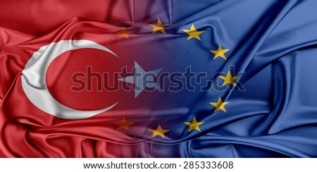 European Union and Turkey. The concept of relationship between EU and Turkey. - stock photo