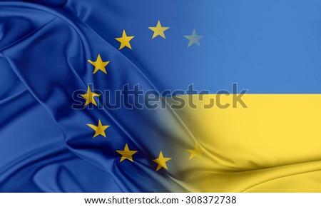 European Union and Ukraine. The concept of relationship between EU and Ukraine. - stock photo