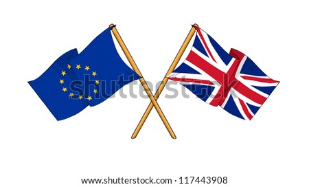 European Union and United Kingdom alliance and friendship - stock photo
