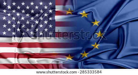 European Union and United States. The concept of relationship between EU and United States. - stock photo