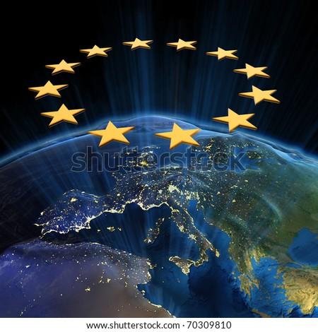European Union at night. Earth map from NASA - stock photo