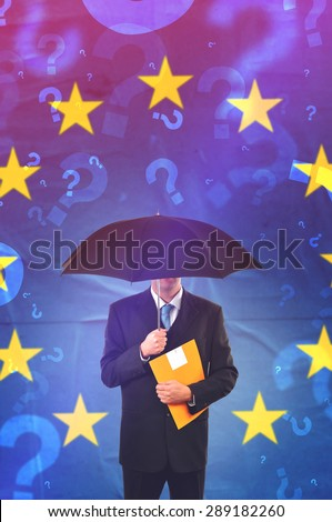 European Union Businessman with Umbrella and Yellow Document Folder Questioning, Retro Tone Vintage Effect