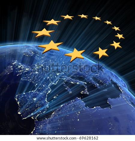 European Union city lights. Earth map from NASA - stock photo