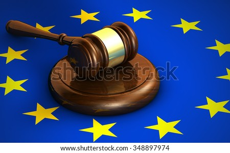 European Union Community laws, legal system and parliament concept with a 3d render of a gavel and the EU flag on background. - stock photo