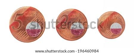 European union concept - 1, 2 and 5 eurocent, flag of Poland - stock photo