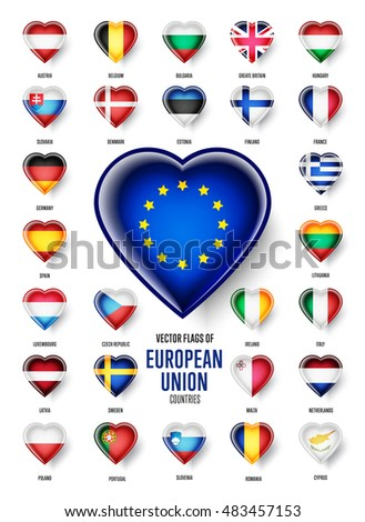 European Union country flags icon set, raster. Heart shape. Austria, Belgium, Bulgaria, Croatia, Cyprus, France, Germany, Greece, Italy, Malta, Netherlands, Spain, Sweden and the UK.