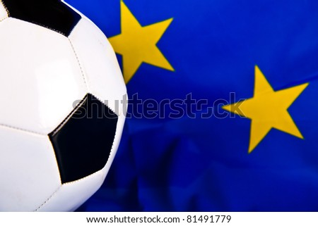 european union flag and football closeup