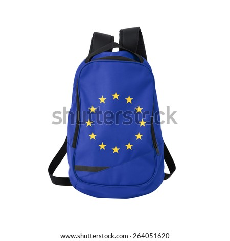 European union flag backpack isolated on white background. Back to school concept. Education and study abroad. Travel and tourism in Europe - stock photo