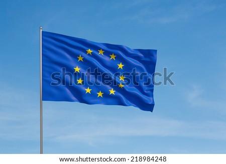 European Union Flag, Blue sky background.  - stock photo