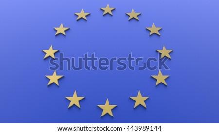 European Union Flag. 3D illustration. 3D CG. - stock photo