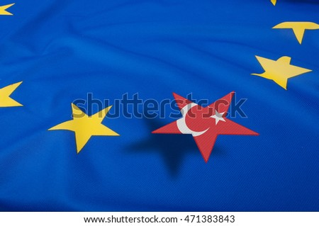 European Union Flag Drapery With Turkey Star