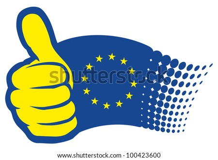 European Union flag (EU). Hand showing thumbs up - stock photo