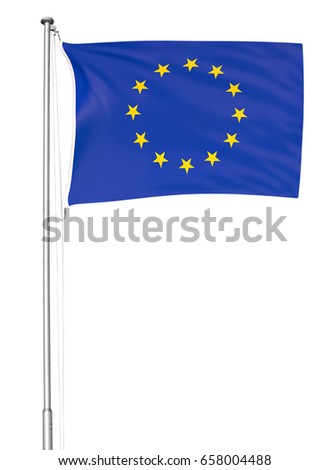 European Union flag flying on a metal pole, isolated on a white background