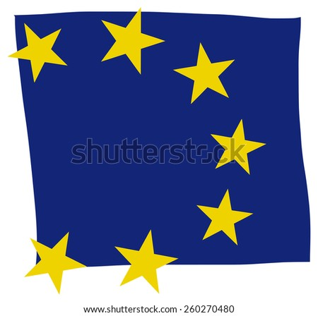 European Union Flag illustration Hand Made square shape - stock photo