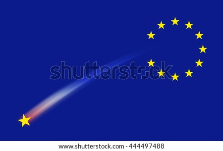 European union flag sign. Shooting star. Group of stars on blue sky background but one missing falling star. For business financial and brexit sign effect concept