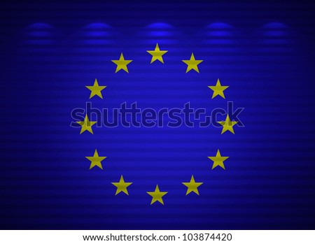 European Union flag wall, abstract background - stock photo