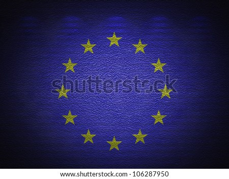 European Union flag wall, abstract grunge background - stock photo