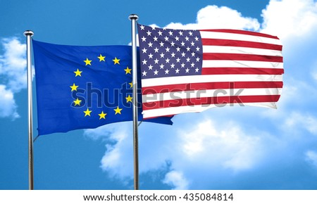European union flag with American flag, 3D rendering
