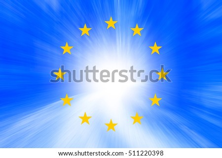 European union flag with bright ray of light illustration background.