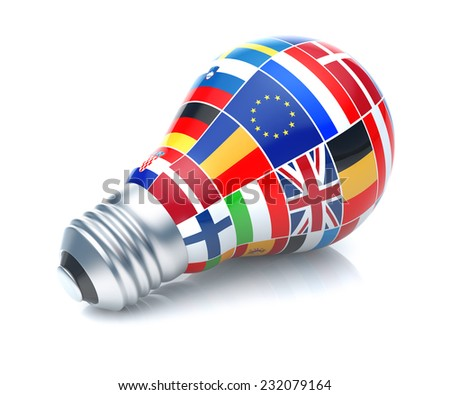 European Union flag with light bulb on white background. - stock photo