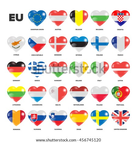 European Union flags in hearts
