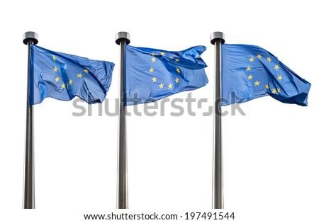 European Union flags isolated on white background - stock photo