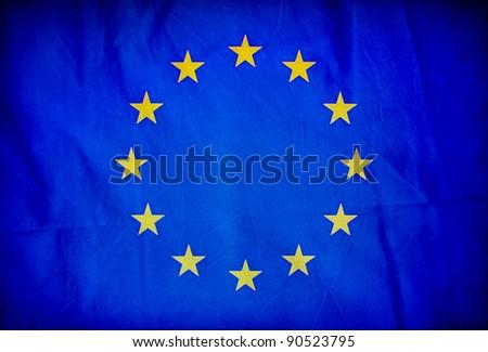 European Union grunge flag - stock photo