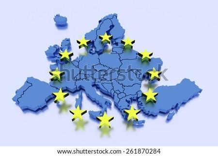 European Union in blue - stock photo
