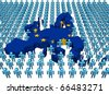 European Union map flag surrounded by many abstract people illustration - stock photo