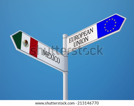 European Union Mexico High Resolution Sign Flags Concept