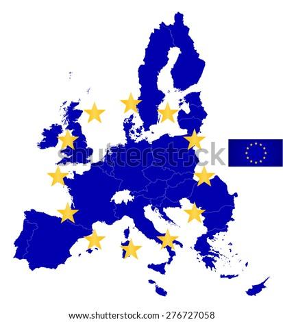 European Union outline map with EU flag. Raster illustration. - stock photo