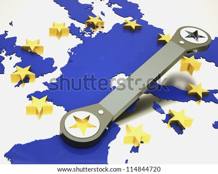 european union repaired using wrench - stock photo
