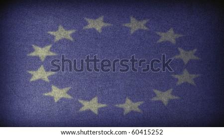 European Union sign on a dark fabric - stock photo