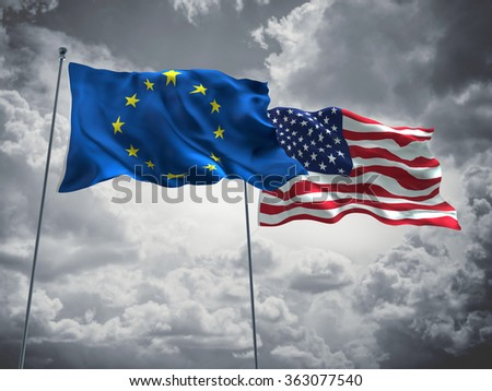 European Union & United States of America Flags are waving in the sky with dark clouds  - stock photo