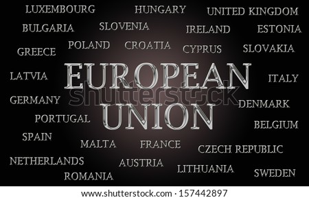 European Union word cloud written in luxurious chrome letters