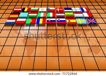 European Union: work team and commerce - stock photo