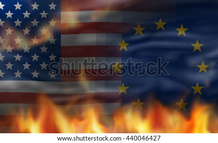 European united states of america flag with flames design
