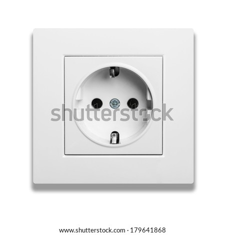 European wall outlet with shadow isolated on white background  - stock photo