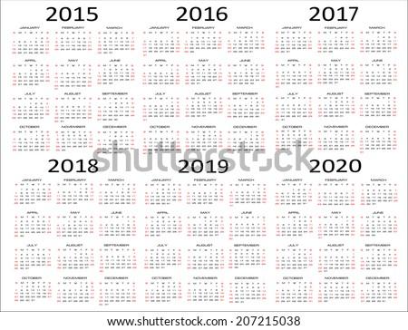 Year Calendar 2015 2020 Printable | Calendar Template 2016