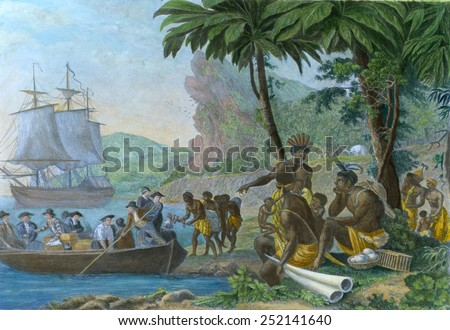 Europeans trading with West Africans in the 18th century. Africans imported guns and manufactured goods such as cotton cloth and metal hardware. Ca. 1780. - stock photo