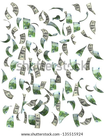 Euros and dollars falling, isolated on white background