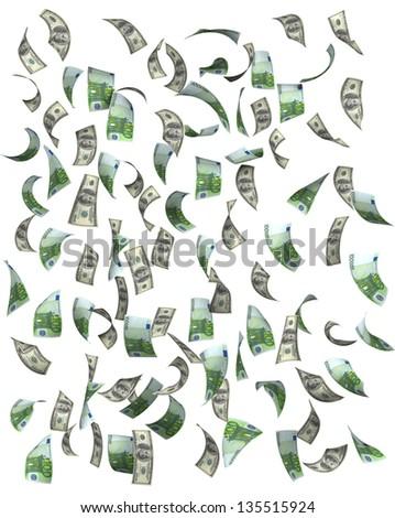 Euros and dollars falling, isolated on white background - stock photo