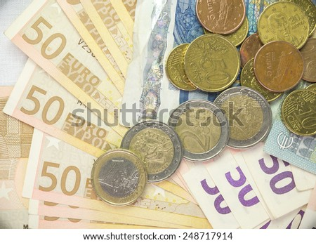 euros background coins currency many - stock photo