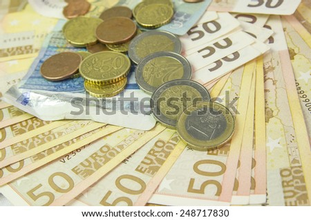 euros coins currency - stock photo